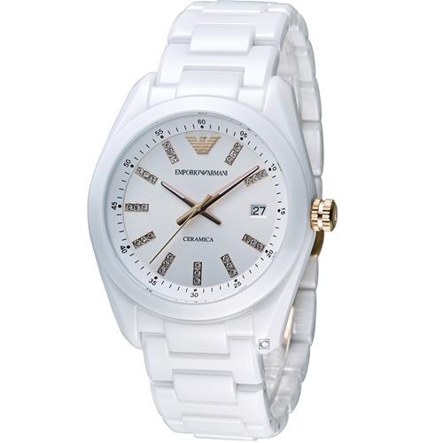 ARMANI 亞曼尼 Ceramica 璀璨晶鑽陶瓷腕錶 AR1495 白