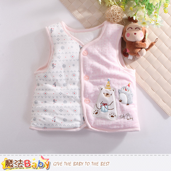 魔法Baby 嬰幼兒背心外套 厚鋪棉絲絨保暖外套 k60405