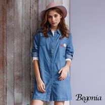 【Begonia】刺繡貼布反袖長版丹寧襯衫(黑色)