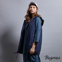 【Begonia】木釦連帽抽繩長版背心(共兩色)