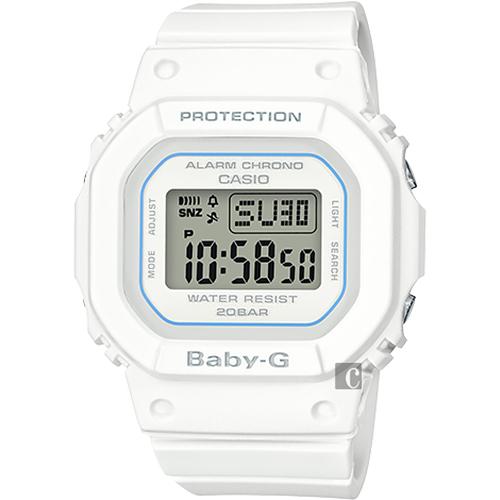 CASIO 卡西歐 Baby-G 人氣經典電子錶-白 BGD-560-7DR