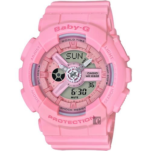 CASIO 卡西歐 Baby-G 花朵系列雙顯手錶-玫瑰粉 BA-110-4A1DR