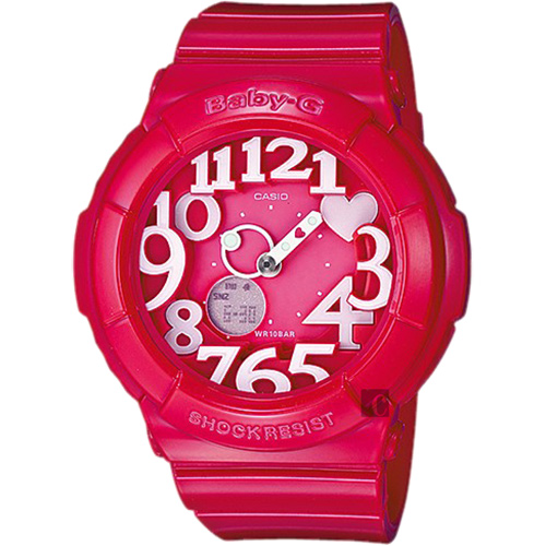 CASIO 卡西歐 Baby-G 霓虹照明造型錶-莓紅 BGA-130-4BDR
