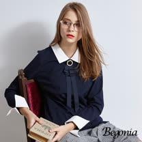 【Begonia】金屬領飾假兩件反袖上衣(共兩色)
