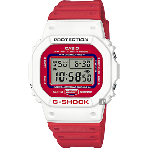 CASIO 卡西歐 G-SHOCK 80年代經典多彩電子錶-紅x白 DW-5600TB-4ADR