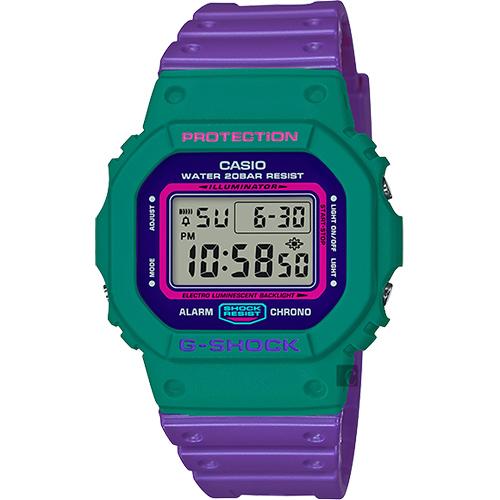 CASIO 卡西歐 G-SHOCK 80年代經典多彩電子錶-紫x綠 DW-5600TB-6DR