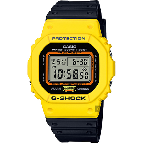 CASIO 卡西歐 G-SHOCK 80年代經典多彩電子錶-黑x黃 DW-5600TB-1DR