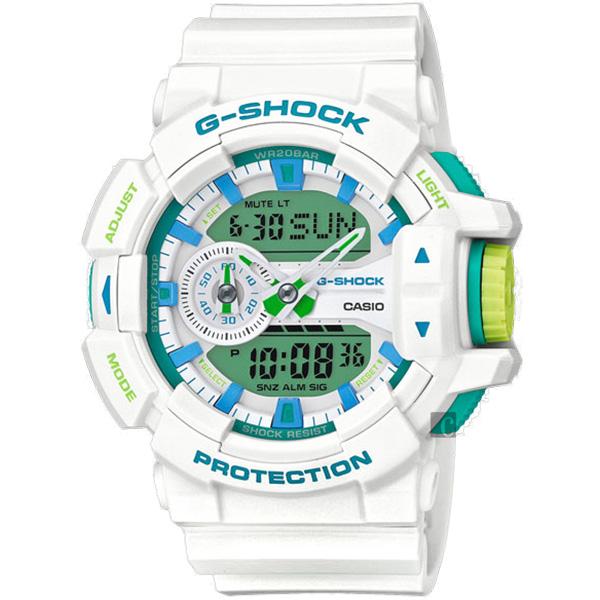 CASIO 卡西歐 G-SHOCK 夏日沁涼大錶徑手錶-湖水藍x白 GA-400WG-7ADR