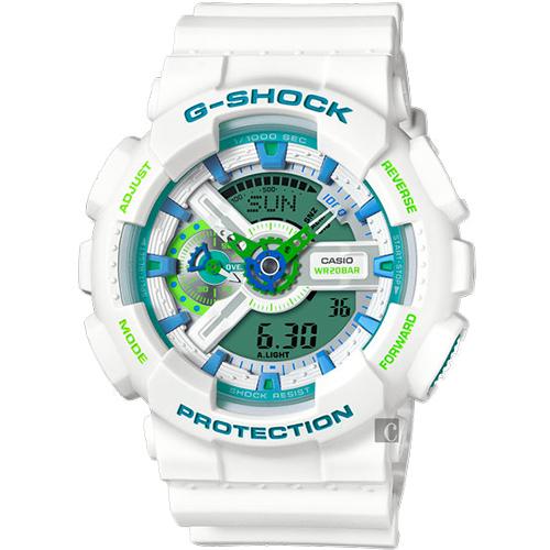 CASIO 卡西歐 G-SHOCK 夏日沁涼雙顯手錶-湖水藍x白 GA-110WG-7ADR