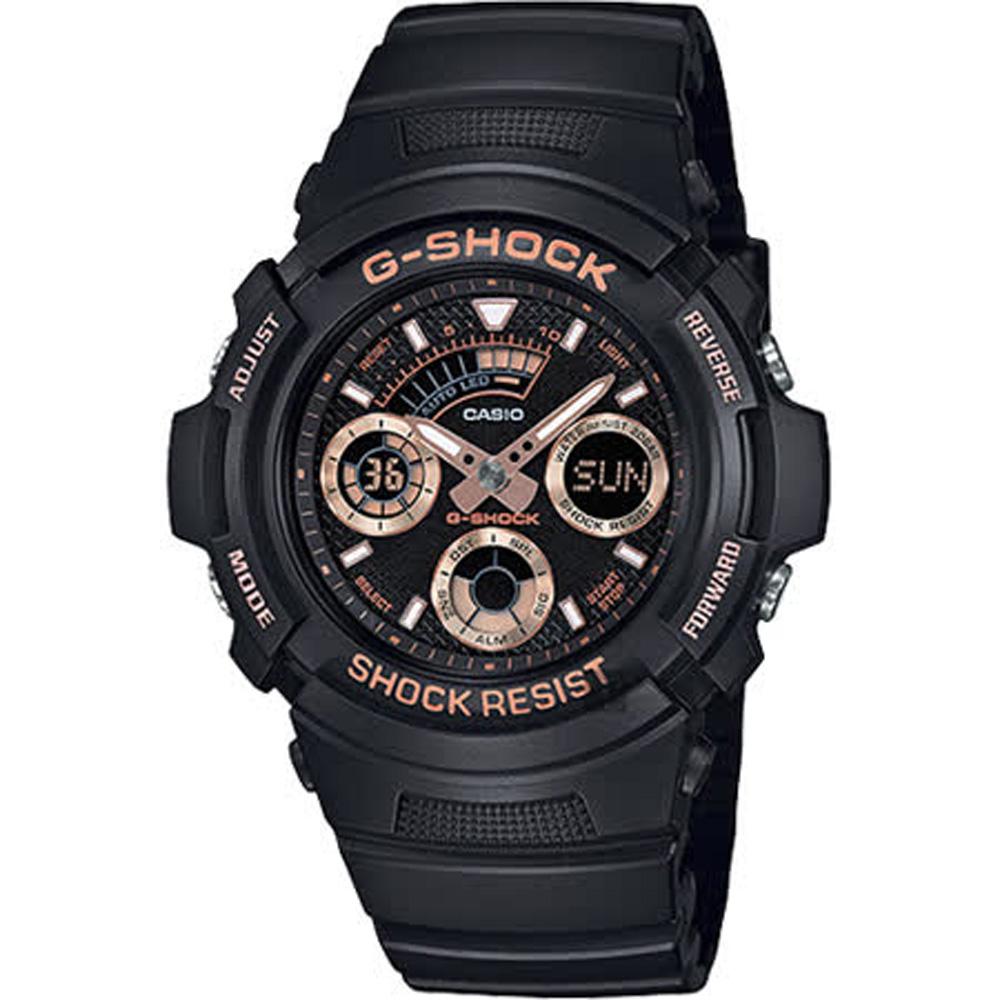 CASIO 卡西歐 G-SHOCK 賽車運動手錶-玫瑰金x黑 AW-591GBX-1A4DR