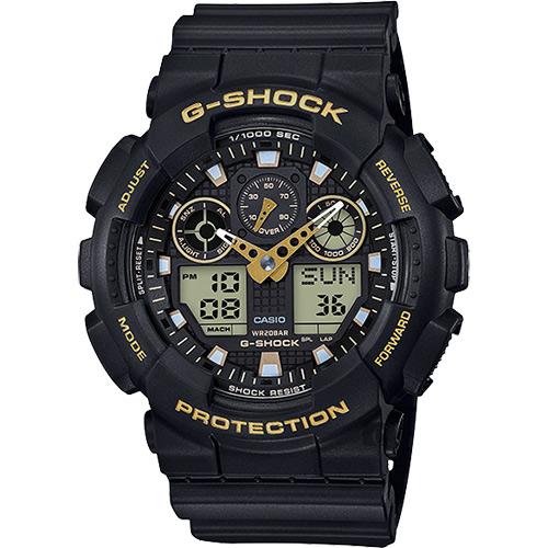 CASIO 卡西歐 G-SHOCK 賽車運動雙顯手錶-金x黑 GA-100GBX-1A9DR