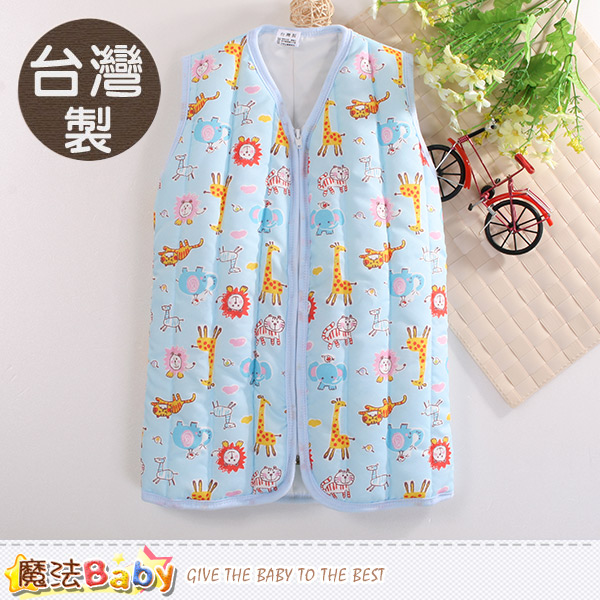 魔法Baby 嬰幼兒睡袍 台灣製厚鋪棉保暖背心睡袍 k60425