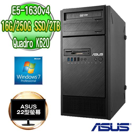 ASUS 華碩 WS860T 高階繪圖工作站+華碩 IPS 22型顯示器(E5-1630v4 16G 250GB SSD+2TB K620 2GB繪圖卡 Win7專業版)