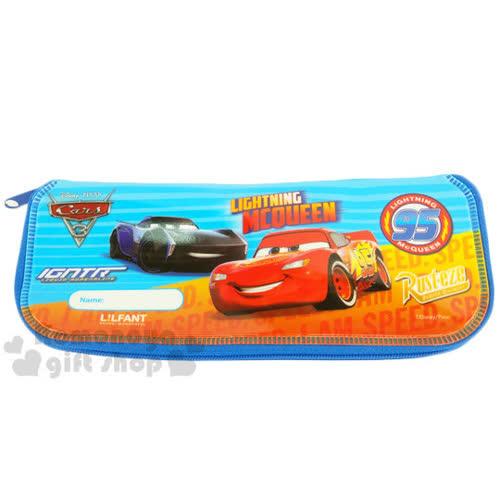 〔小禮堂〕迪士尼 CARS閃電麥坤 全開式拉鍊餐具袋~藍.朋友.英文字樣~可寫上名字