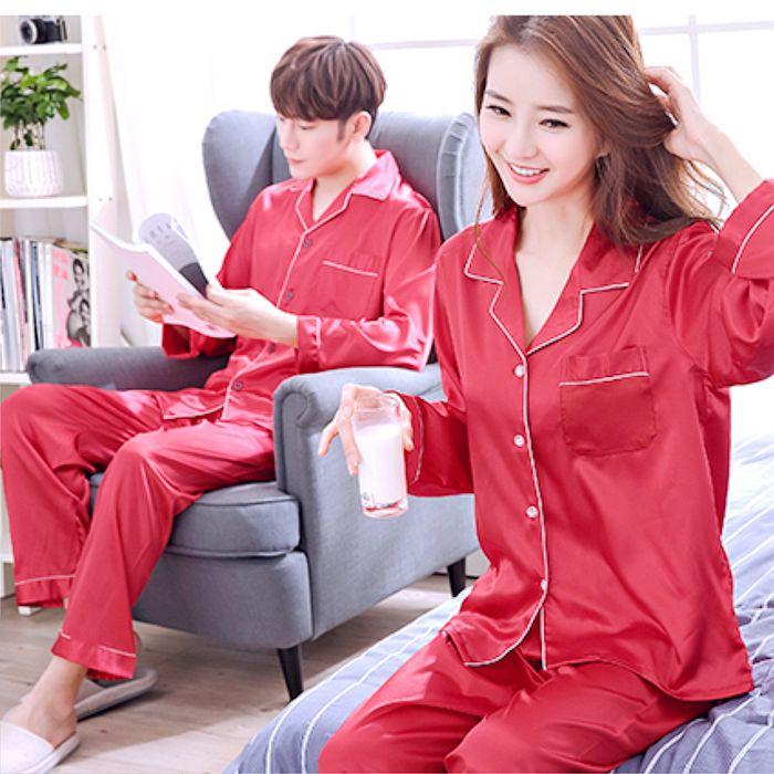~費伊特~仿真絲柔順男女家居睡衣套裝純紅色情侶服