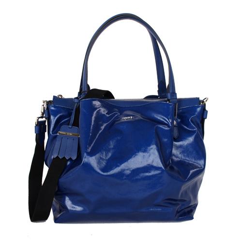 TODS 漆亮皮革FLOWER BAG手提斜背包 亮藍大
