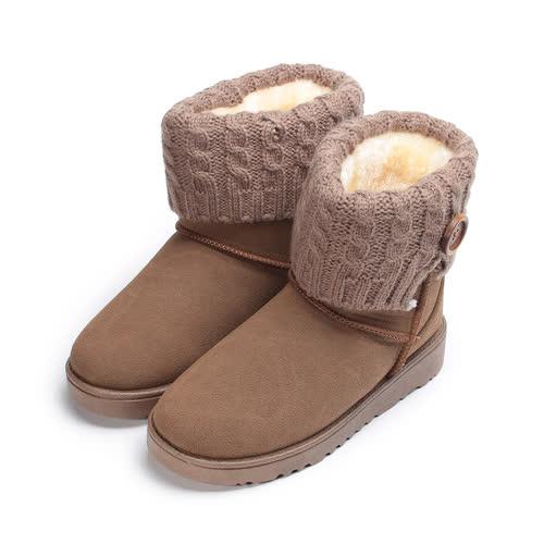 中大童  DOOK 毛線雪靴 卡其 童鞋 鞋全家福