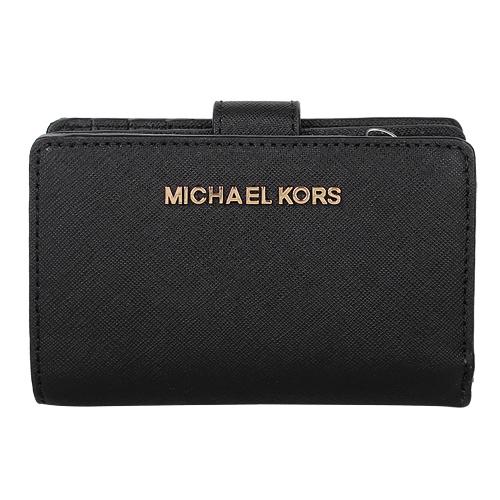 MICHAEL KORS - 金LOGO防刮皮革釦式拉鍊短夾(黑)