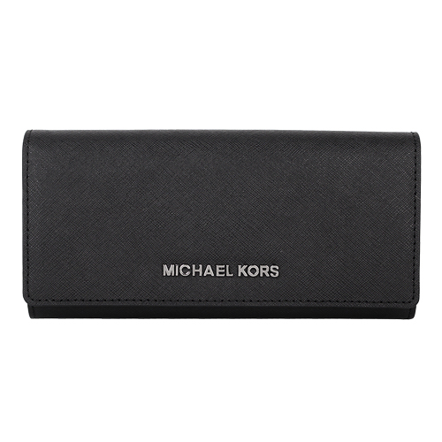MICHAEL KORS -銀LOGO防刮皮革翻釦拉鍊長夾(黑)