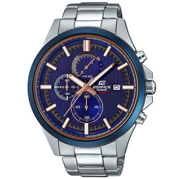 CASIO EDIFICE 城市賽車道計時運動優質腕錶-銀+藍框-EFV-520DB-2A