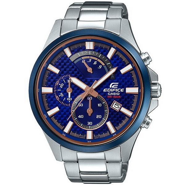 CASIO EDIFICE 賽車道風雲計時運動優質腕錶-銀+藍框-EFV-530DB-2A