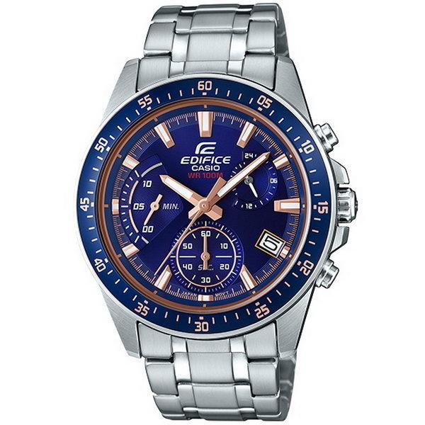 CASIO EDIFICE 賽車高手雲集計時運動優質腕錶-銀+藍框-EFV-540D-2A