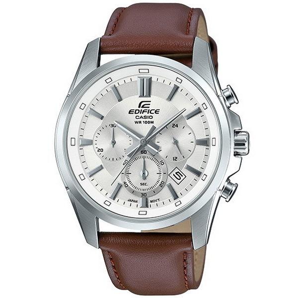 CASIO EDIFICE 暢遊世界計時運動優質皮革腕錶-銀+咖啡-EFR-560L-7A