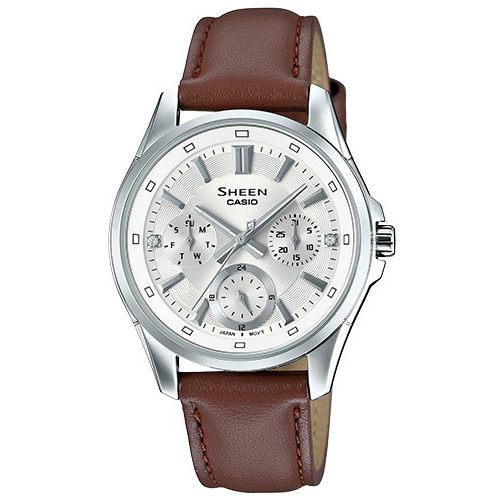 CASIO SHEEN 暢遊世界計時運動優質女性皮革腕錶-銀-SHE-3060L-7A