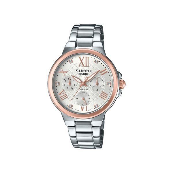 CASIO SHEEN 甜心活潑俏女孩時尚優質三眼腕錶-銀+玫瑰金-SHE-3511SG-7A
