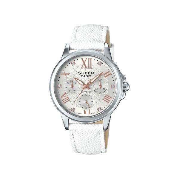 CASIO SHEEN 甜心活潑俏女孩時尚優質三眼皮革腕錶-白-SHE-3511L-7A