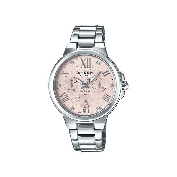 CASIO SHEEN 甜心活潑俏女孩時尚優質三眼腕錶-銀-SHE-3511D-4A