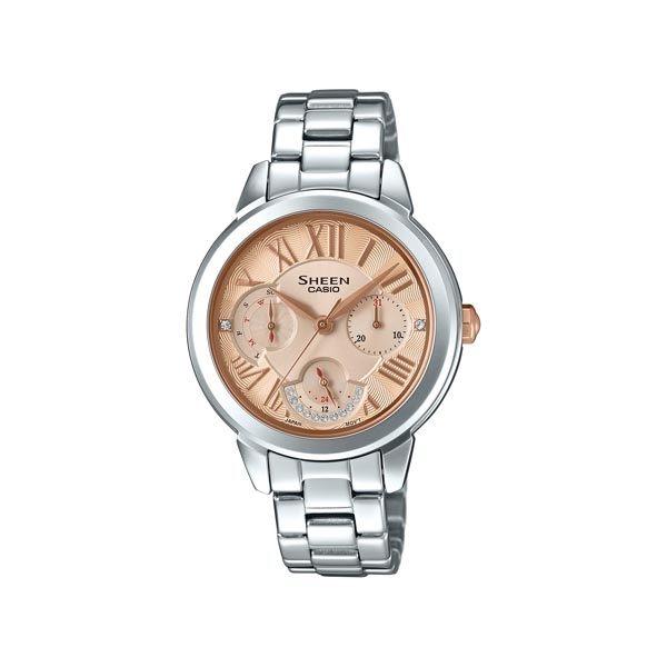 CASIO SHEEN 水晶女王的降臨時尚優質三眼腕錶-銀-SHE-3059D-9A