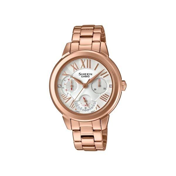 CASIO SHEEN 水晶女王的降臨時尚優質三眼腕錶-全玫瑰金-SHE-3059PG-7A