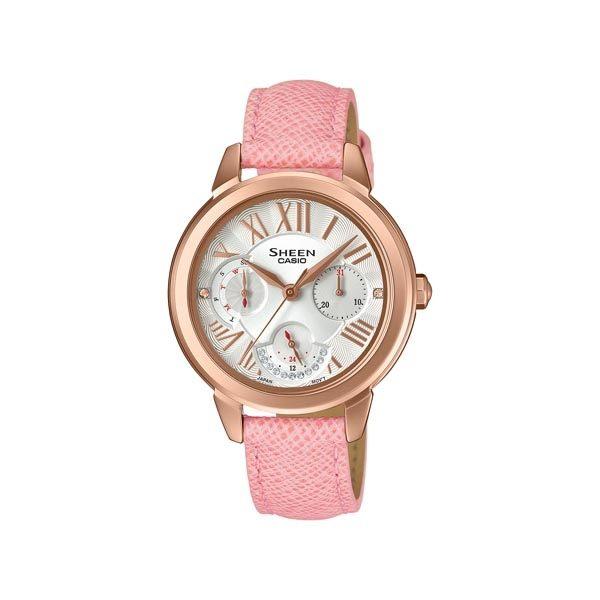 CASIO SHEEN 水晶女王的降臨時尚優質三眼皮革腕錶-玫瑰金+粉紅-SHE-3059PGL-7A