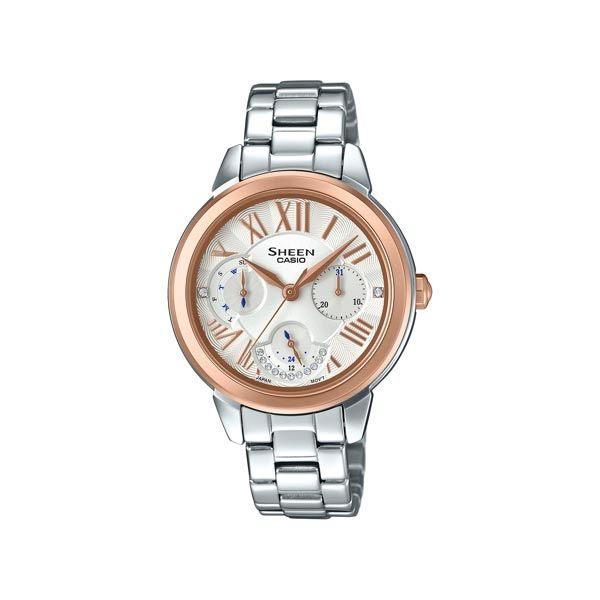 CASIO SHEEN 水晶女王的降臨時尚優質三眼腕錶-玫瑰金框-SHE-3059SG-7A