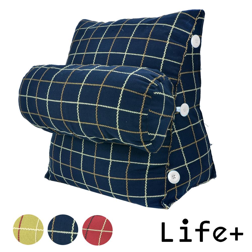 【Life Plus】風采格調 舒壓萬用靠枕/抱枕/腰靠枕 (藍格)