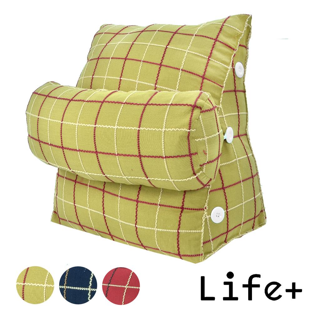 【Life Plus】風采格調 舒壓萬用靠枕/抱枕/腰靠枕 (綠格)