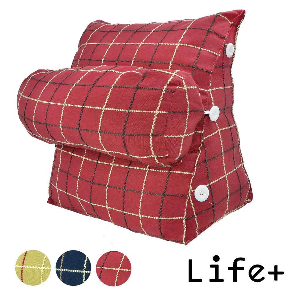 【Life Plus】風采格調 舒壓萬用靠枕/抱枕/腰靠枕 (紅格)