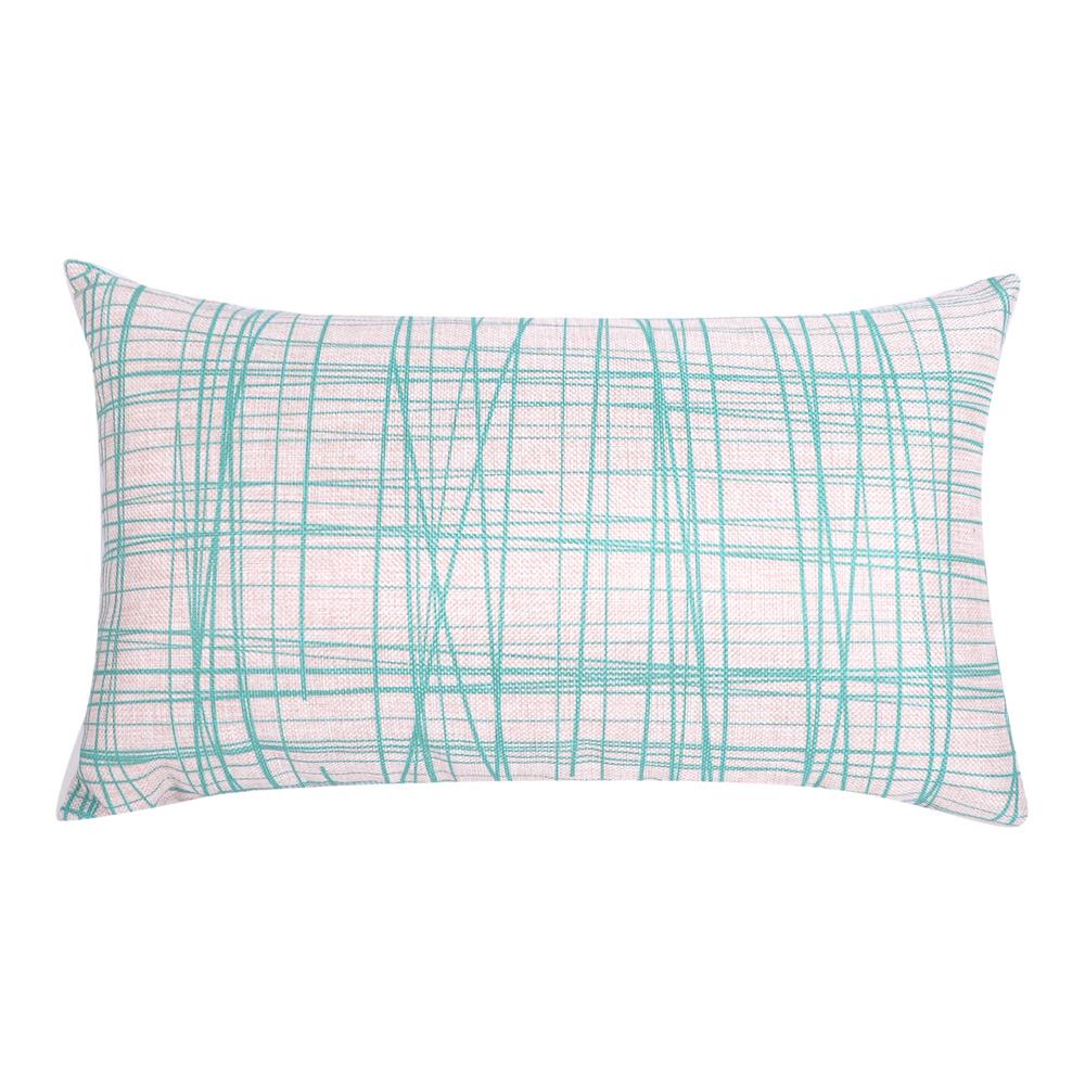 北歐簡約 棉麻舒適長型抱枕.腰靠枕 (線型藍)