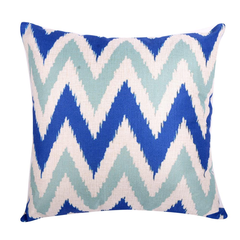 幾何原創 棉麻舒適方型抱枕.靠枕 (藍綠W)