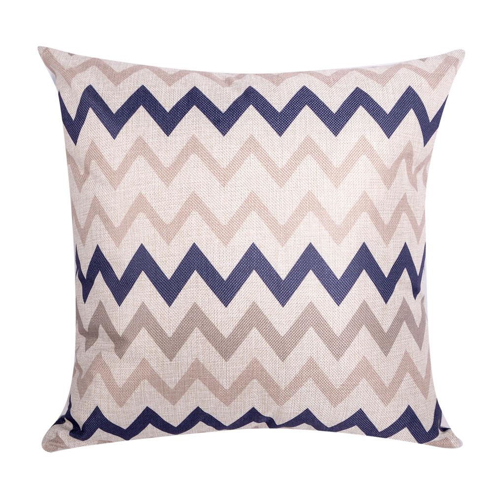 幾何原創 棉麻舒適方型抱枕.靠枕 (藍咖W)