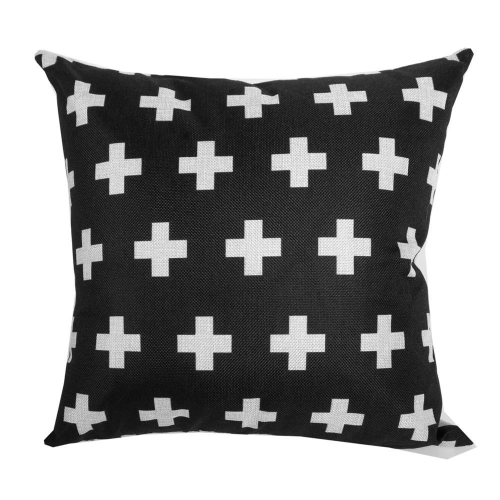 幾何原創 棉麻舒適方型抱枕.靠枕 (黑十字)