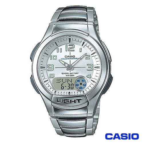 CASIO卡西歐  經典雙顯多功能不鏽鋼帶運動手錶 AQ-180WD-7B