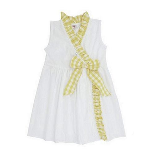 美國 RuffeButts 寶寶兒童洋裝_白色黃格子洋裝 RBD05