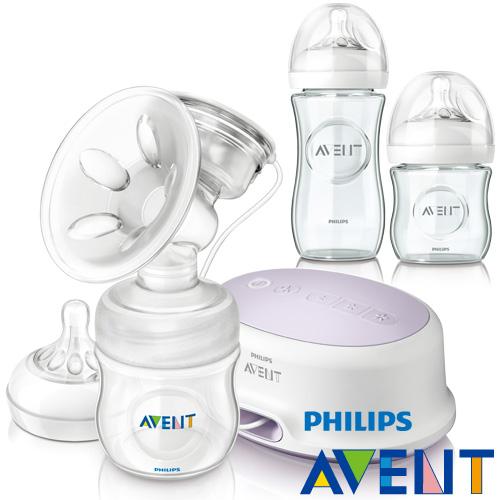 PHILIPS AVENT 輕乳感PP 型單邊電動吸乳器 親乳感玻璃防脹氣奶瓶1大1小