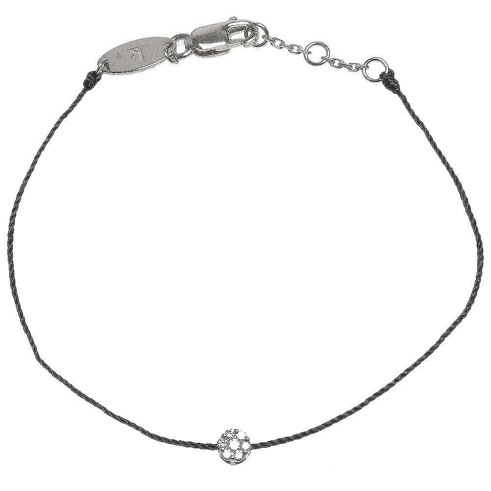 REDLINE 經典ILLUSION系列鑽石鑲飾羅紋黑繩手鍊(18K白金)