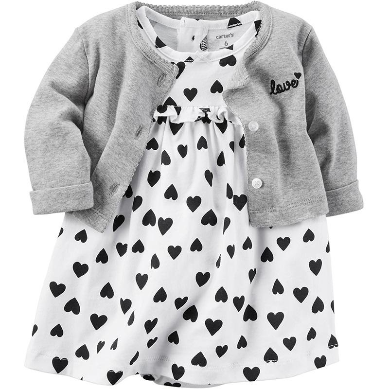 美國 Carter Carter s 嬰幼兒春夏外套洋裝包屁衣組_白底愛心 CTGSCD1