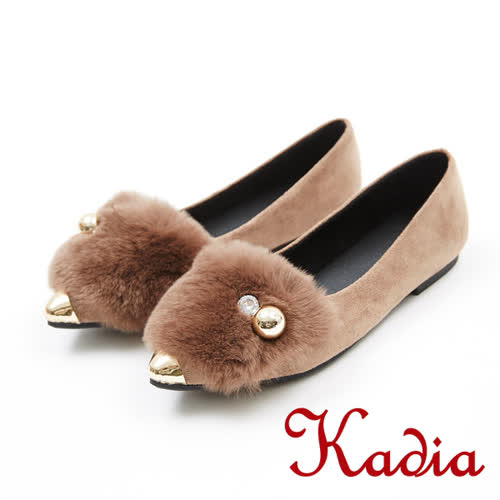kadia.優雅氣質兔毛低跟尖頭鞋(7544-35棕)