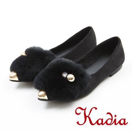 kadia.優雅氣質兔毛低跟尖頭鞋(7544-95黑)