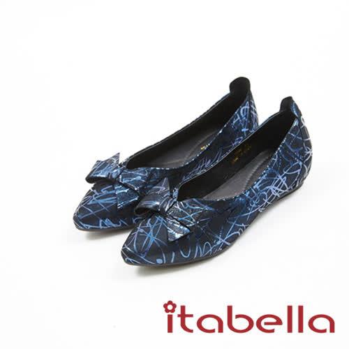 itabella.時尚造型蝴蝶結尖頭鞋(7586-51藍)
